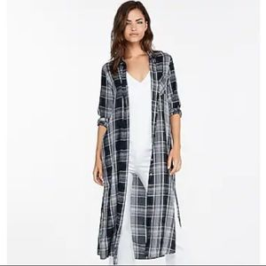 New Express Blue & White Plaid Long Sleeve Duster